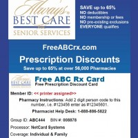 Free Rx Discount Card from Always Best Care Midlands